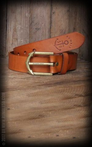 Rumble59 Leather Belt with anchor buckle, light-brown