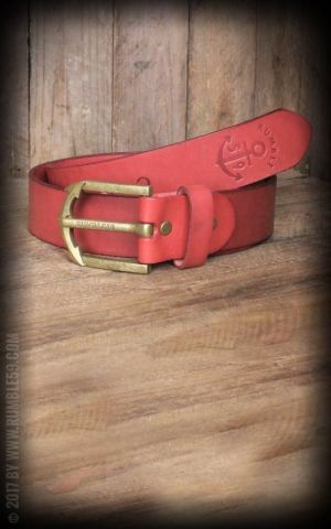 Rumble59 Leather Belt with anchor buckle, rouge