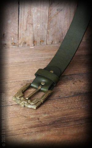 Rumble59 Ledergürtel mit Schwalben-Buckle, grün