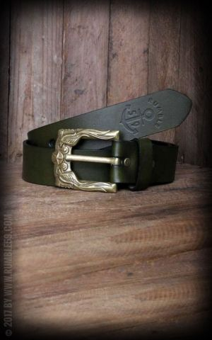 Rumble59 Leather Belt with swallow buckle, green