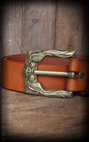 Rumble59 Ledergürtel mit Schwalben-Buckle, hellbraun