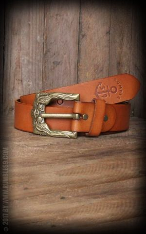Rumble59 Leather Belt with swallow buckle, light-brown