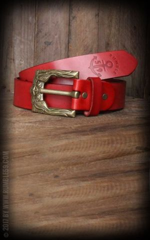 Rumble59 Leather Belt with swallow buckle, rouge