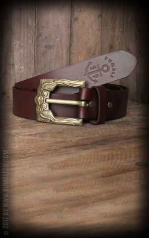 Rumble59 Leather Belt with swallow buckle, russet