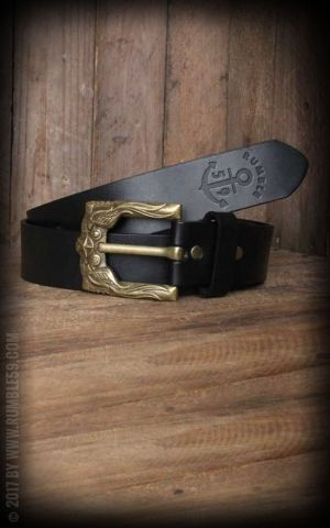 Rumble59 Leather Belt with swallow buckle, black