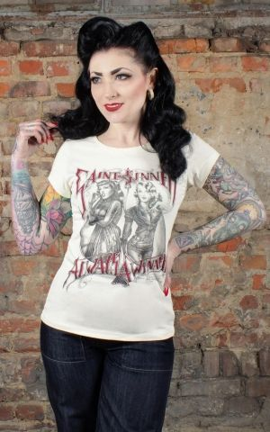 Rumble59 - Ladies T-Shirt - Saint or Sinner - crème