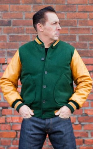 Rumble59 - Baseball Jacket - green/mustard