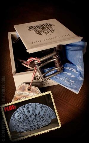 Rumble59 Set ceinture de cuir marlon brando, marron +boucle Sun Records Company