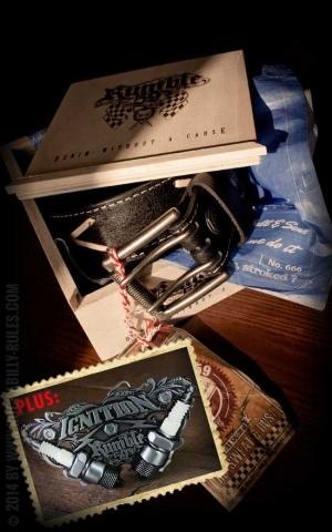 Rumble59 Set  ceinture de cuir marlon brando noir+boucle Ignition