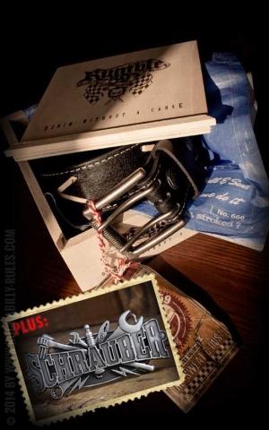 Rumble59 Set ceinture de cuir Marlon Brando noir+ boucle Schrauber