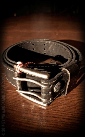 Rumble59 Set Leather belt  Brando black+Buckle Stray Cats - Rock this town