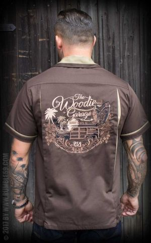 Rumble59 - Bowling Shirt - The Woodie Garage - marron