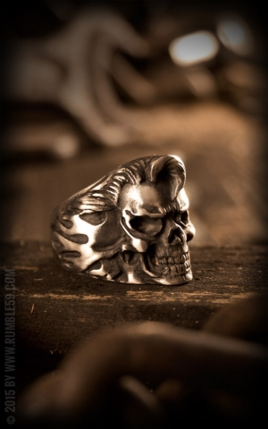 Rumble59 - Stainless Steel Ring - Rockabilly Skull