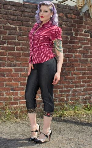 Rumble59 Ladies Denim - Black Capri Jeans - Leopatch