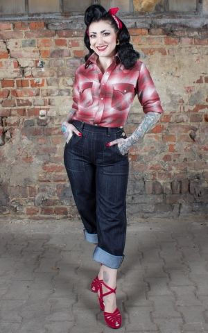 Rumble59 Ladies - Flannel Shirt - Cute Farmers Gal