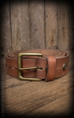 Rumble59 Leather belt with fancy stitch, beige