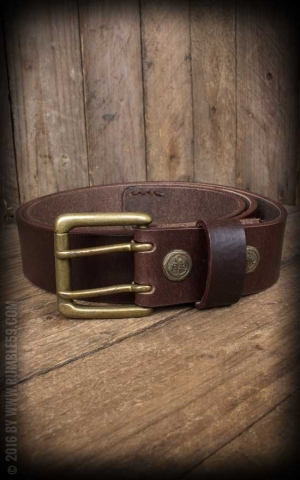 Rumble59 Leather belt with double prong buckle, used brown