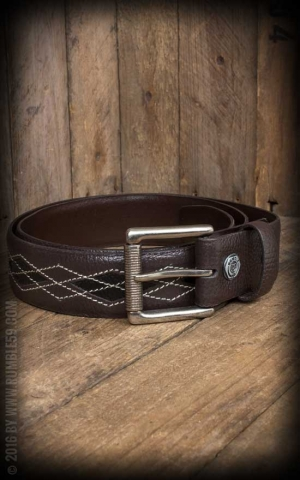 Rumble59 Leather Belt Diamond - brown/black