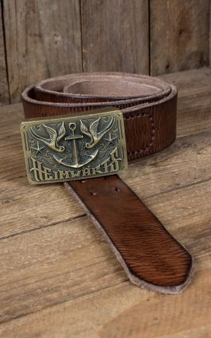 Rumble59 Leather belt with plaque buckle - Heimwärts