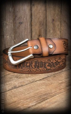 Rumble59 Leather Belt with embossment - Race Rock Ride