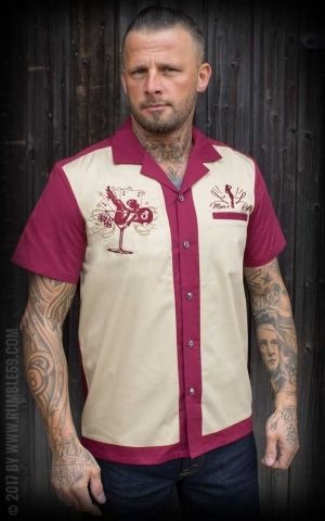 Rumble59 - Lounge Shirt - Mans Ruin - bordeaux/beige
