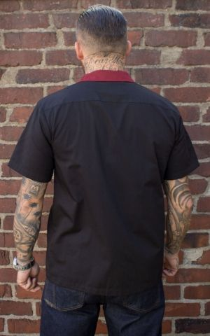 Rumble59 - Lounge Shirt - Swallows n Anchors - bordeaux