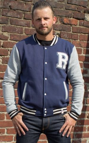 Rumble59 - Male Sweat College Jacket - blue/grey
