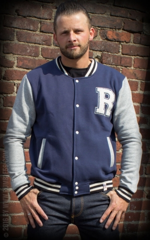 Rumble59 - Male Sweat College Jacket - bleu/gris
