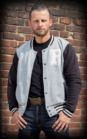 Rumble59 - Male Sweat College Jacket - gris/noir