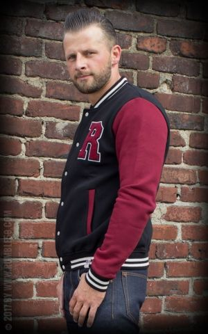 Rumble59 - Male Sweat College Jacke - schwarz/bordeaux