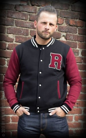 Rumble59 - Male Sweat College Jacket - black/bordeaux