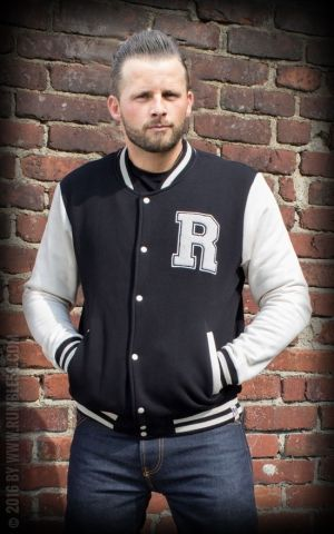 Rumble59 - Male Sweat College Jacket - black/offwhite