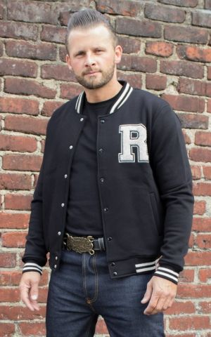 Rumble59 - Male Sweat College Jacket - black