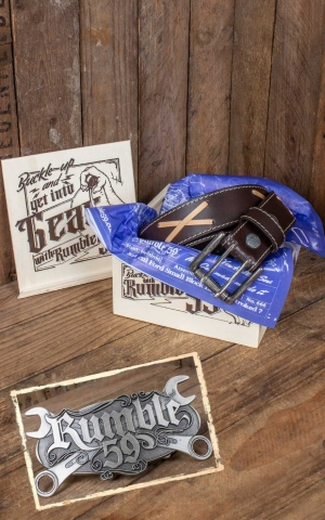Rumble59 Set Leather belt Brando brown+Buckle Wild Wrench
