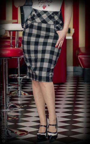 Rumble59 Ladies - High Waisted Pencil Skirt - plaid