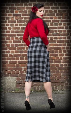 Rumble59 Ladies - High Waisted Pencil Skirt - kariert