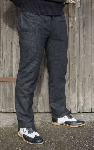 Rumble59 - Vintage Slim Fit Pants Pasadena  - rayé noir/gris