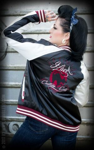 Rumble59 - Souvenir Jacket | 2-in-1 Satin Bomber Jacket Hells Belles