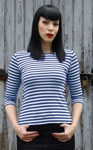 Rumble59 Ladies - Striped Shirt - Lets be Audrey! - bleu
