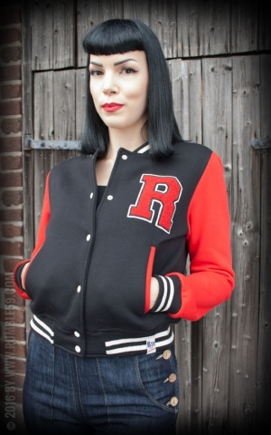 Rumble59 - Sweat College Jacket - noir/rouge