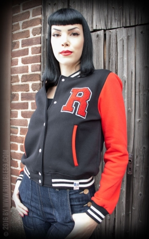 Rumble59 - Sweat College Jacke - schwarz/rot