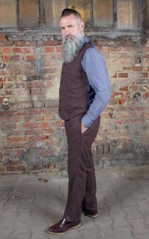 Rumble59 - Vintage Slim Fit Pants Pasadena - Fischgrat braun/blau