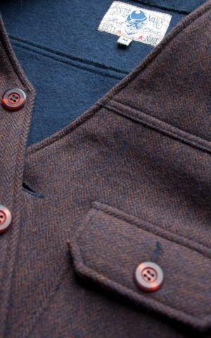 Rumble59 - Vintage Weste Boston - Fischgrat braun/blau