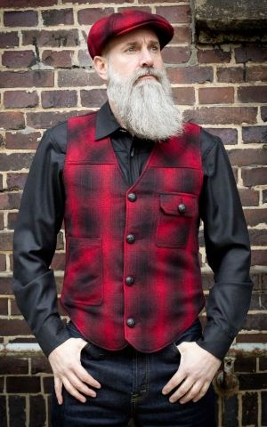 Rumble59 - Vintage Vest Boston - plaid red/black