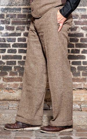 Rumble59 - Vintage Loose Fit Pants Sacramento - Fischgrat beige/braun