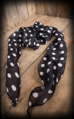 Schal / Halstuch / Haarband Polkadot, schwarz weiß