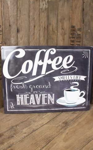 Plaque métal 30 x 40 cm - Coffee Heaven