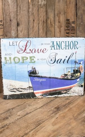 Plaque métal 30 x 40 cm - Let Love be your anchor