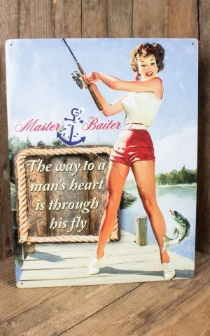 Tin plate sign 30 x 40 cm - PinUp Master Baiter
