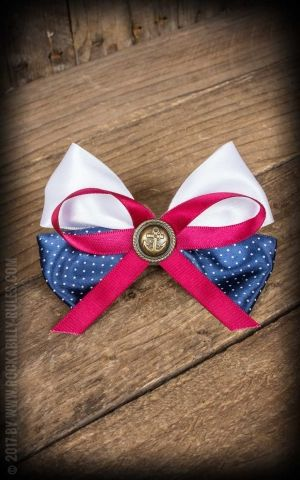 Bow HairClip anchor blue white red